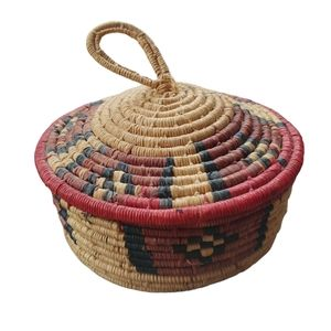 Handwoven Straw Basket and Lid, Red/Brown/Natural